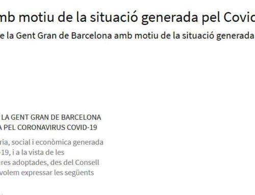 La CONFAVC s'adhereix al manifest del Consell Assessor de la Gent Gran de Barcelona