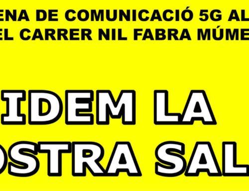 Roda de premsa sobre la instal·lació d'una antena 5G al carrer Nil Fabra 11